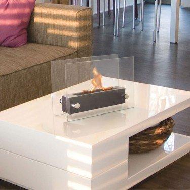Amaltea, a bioethanol fireplace, table, modern design. Amaltea, a superb bio ethanol fireplace design easily transportable.