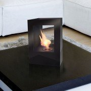 Helios B Purline, a big fireplace bio ethanol in black painted steel, with two tempered glasses heat resistant.