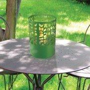 ASTREA Gl de Purline, une cheminée de table en acier laqué vert.