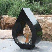 ATENEA B Purline chimenea de suelo, en negro, muestra la llama a tu interior!