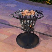 Brasero EFP1 of Purline, an outdoor brazier in black steel, an outdoor wood burning stove and a very original barbecue.
