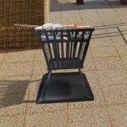 Brasero EFP3 de Purline, un brasero d'extérieur en acier noir, un chauffage extérieur et un barbecue écolo.