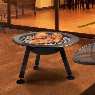 Brasero EFP4 de Purline, un brasero extérieur rond en acier noir, un poele à bois exterieur et un barbecue très original.