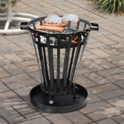 Brasero EFP6 of Purline, an outdoor brazier in black steel, an outdoor wood burning stove and a very original barbecue.