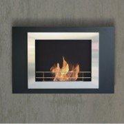 Boreas Purline® chimenea bioetanol de pared con doble marco de acero pulido y lacada en negro
