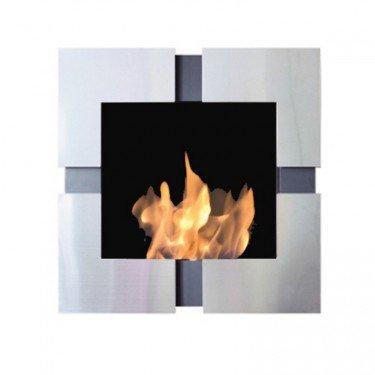Teseo, cheminée murale bio-éthanol Purline®, pose murale ou encastrée