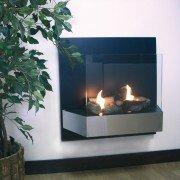 CBAF 21 Purline® es chimenea bio etanol de pared en acero inoxidable con pantalla de seguridad de vidrio templado.