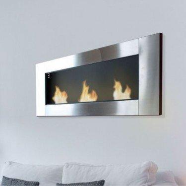 Zeus, cheminée murale bio-éthanol Purline® de largeur panoramique