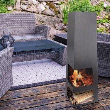 EFP11, un brasero poêle à bois extérieur grande taille avec cheminée intégrée.