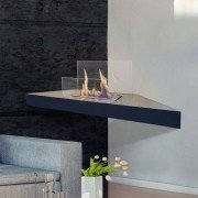 Prometheus Purline® bioethanol corner fireplace with tempered glass