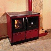 Poêle à bois 6 Kw, fonte et acier émaillé, avec support chauffe plats.