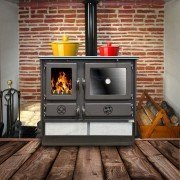 wood burning range cooker 12 Kw, Malina briquette by Purline, Cast iron fireplace