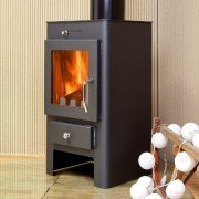 Marinela White, Wood stove 7Kw to 12 Kw , convection effect, ceramic clay color.