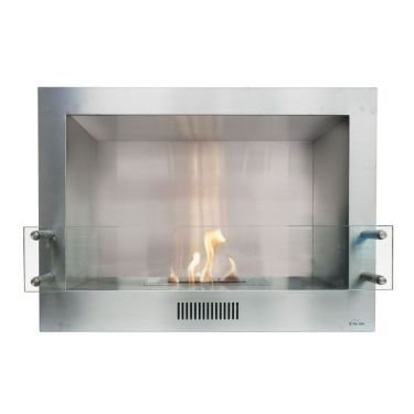 Insert Stainless Steel Bioethanol Fireplace With Tempered Glass