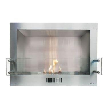 Insert de cheminée au bio éthanol en acier inox avec pare feu en verre trempé