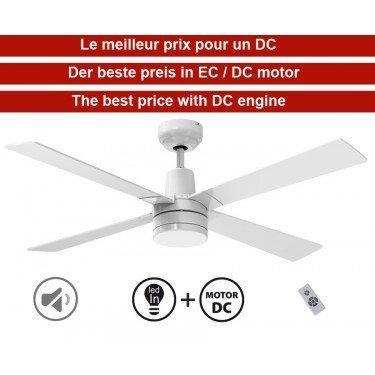 Electra de KlassFan un ventilateur de plafond DC silencieux de 122 Cm, équipé d'une télécommande et une lampe led