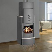 Woodstove Sonata 16 Kw to 22 Kw, between the chimney and the stove.