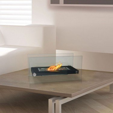 Dafne W, an extraordinary bio ethanol fireplace for table with stunning design.