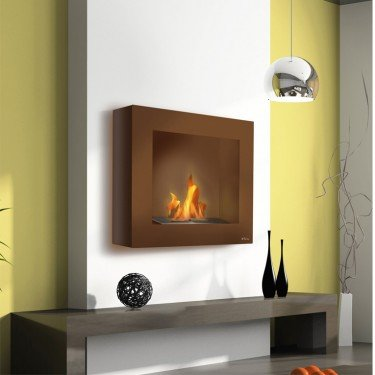 BestBio Design marron, une cheminée bioethanol murale