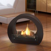 Saturn is a floor fireplace for interior and exterior use
