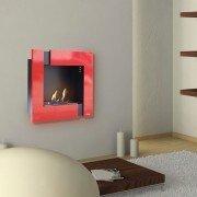 Ariadna Rouge et noir, une cheminée bio éthanol murale moderne et design.