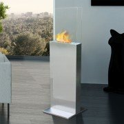 Clio, a brushed stainless steel column ethanol fireplace