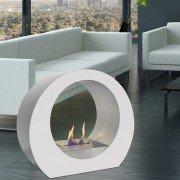 Dione W est une superbe cheminée bio éthanol blanche et inox de sol ultra design