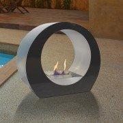 Dione B est une superbe cheminée bio éthanol noir et inox de sol ultra design