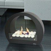 Saturn Plus Black edition est une cheminée de sol ultra design utilisation intérieur et exterieur