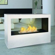Danae by Purline® a bio ethanol floor fireplace type partition, heat 3.5 Kw immediately!