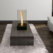 Selene de Purline, chimenea de mesa , diseño, moderno, metal y vidrio.