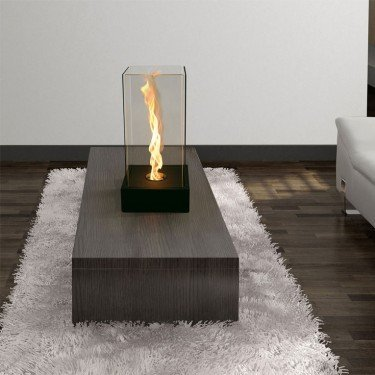 Selene by Purline, table fireplace, design, modern, metal and glass.